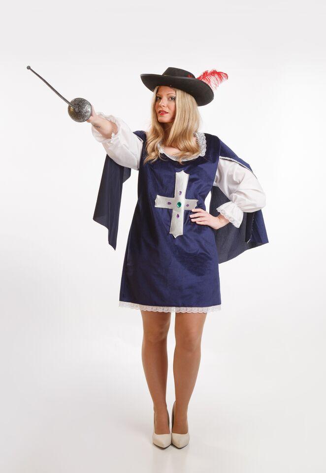 disfraz de mosquetera azul para mujer