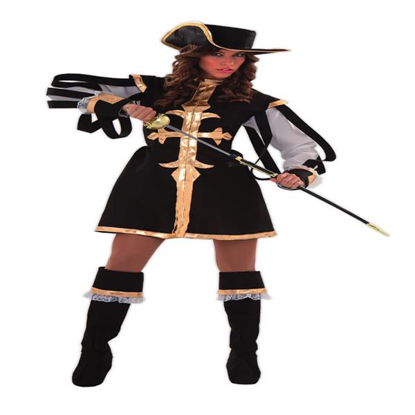 disfraz de mosquetera negra mujer talla ml egl01376 - Día internacional de los Mosqueteros