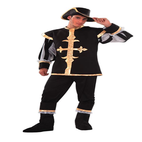 disfraz de mosquetero negro para hombre talla ml egl01378 - Día internacional de los Mosqueteros