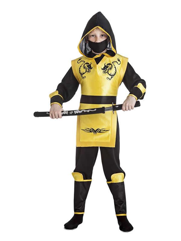 disfraz de ninja dragon amarillo niño