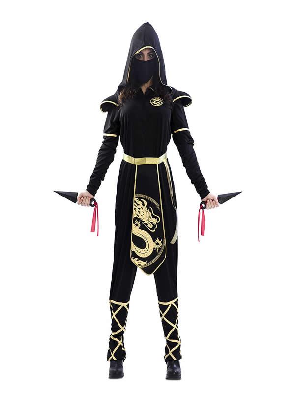 disfraz de ninja dragon dorado mujer