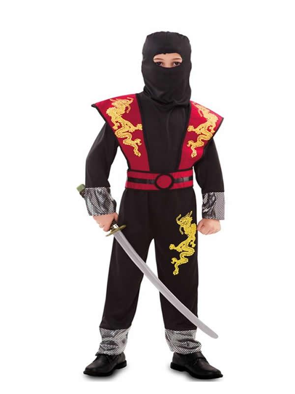 disfraz de ninja rojo y negro para niño