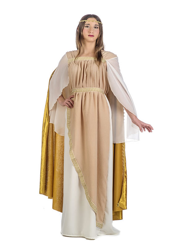 disfraz de noble romana dorado mujer