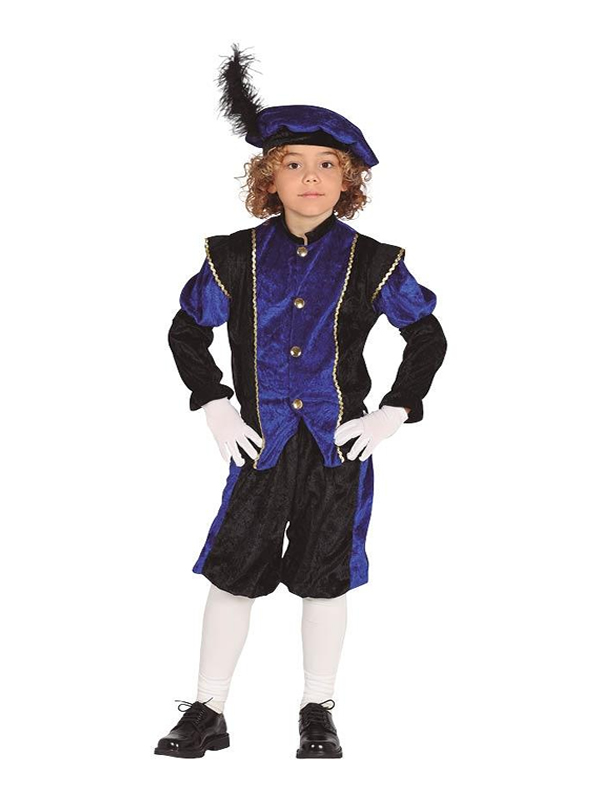 disfraz de paje azul y negro infantil