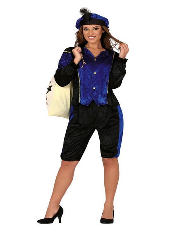 disfraz de paje real azul para mujer