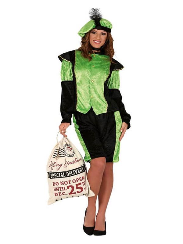 disfraz de paje real verde para mujer
