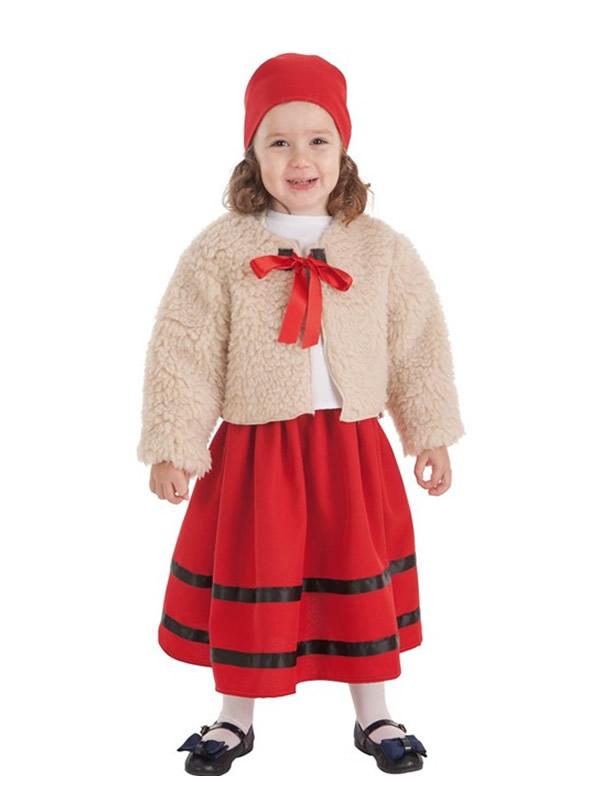 disfraz de pastora con abrigo para niña