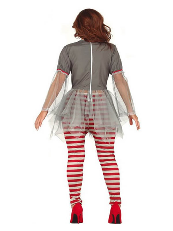 disfraz de payasa miedo gris para mujer