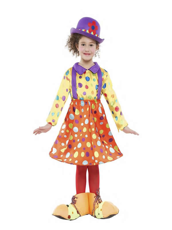 disfraz de payasa lunares con aro niña