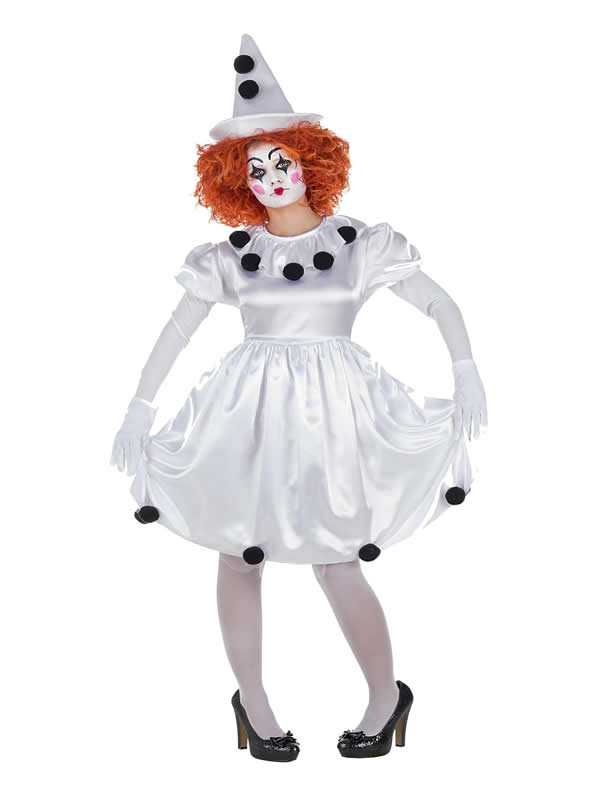 disfraz de payasa pierrot vestido para mujer