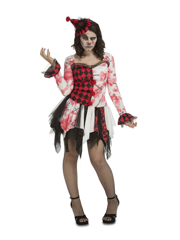disfraz de payasa sangrienta para mujer