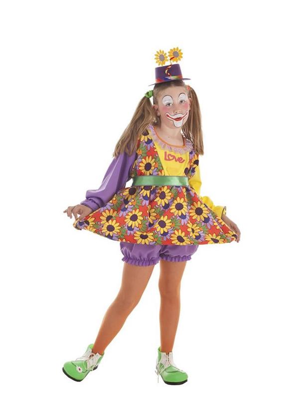 disfraz de payasita con flores para niña