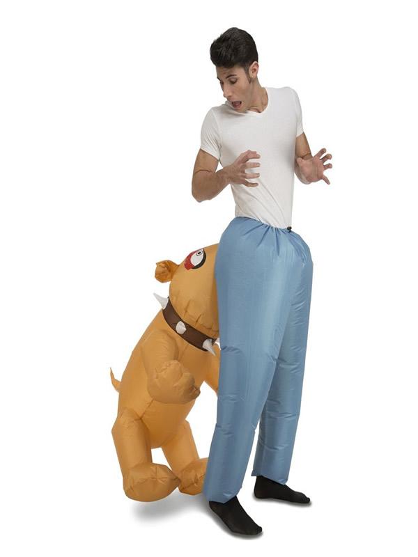 disfraz de perro hinchable mordiendo para adultos