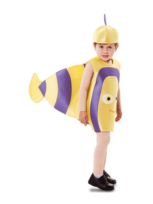 disfraz de pez amarillo y lila bebe