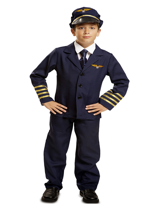 disfraz de piloto de avión azul para niño