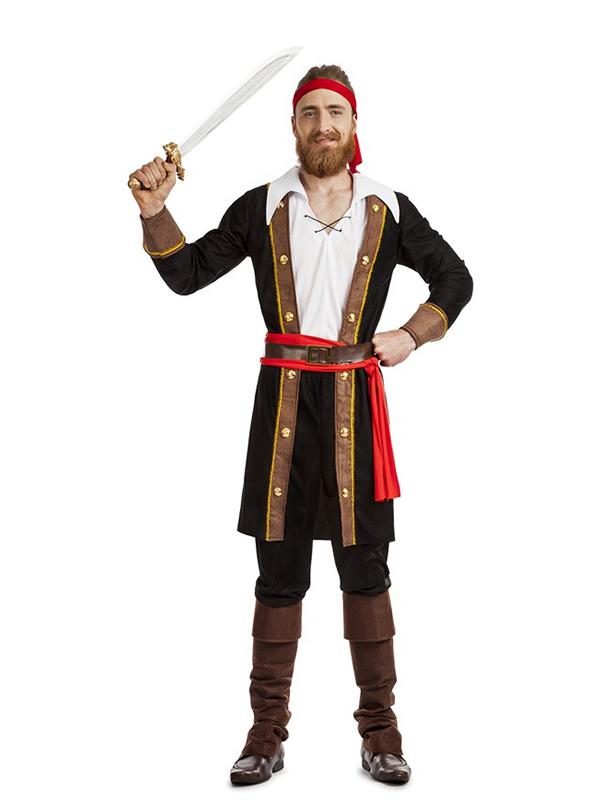 disfraz de pirata casaca negro hombre k3235 - Novedades en disfraces para este carnaval