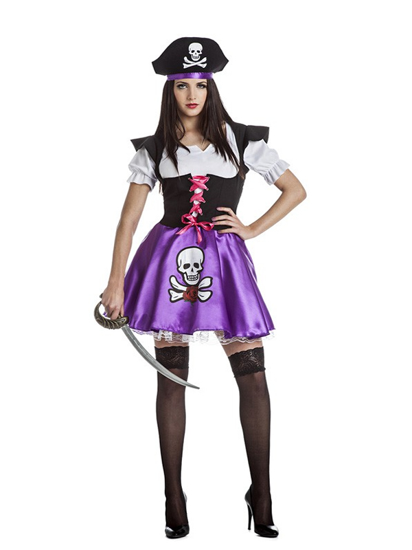 disfraz de pirata lila para mujer