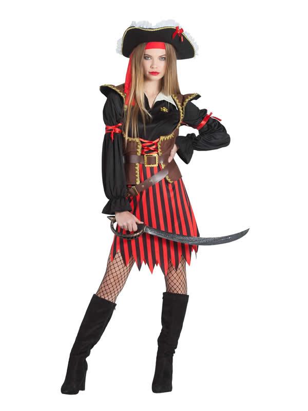 disfraz de pirata rayas mujer