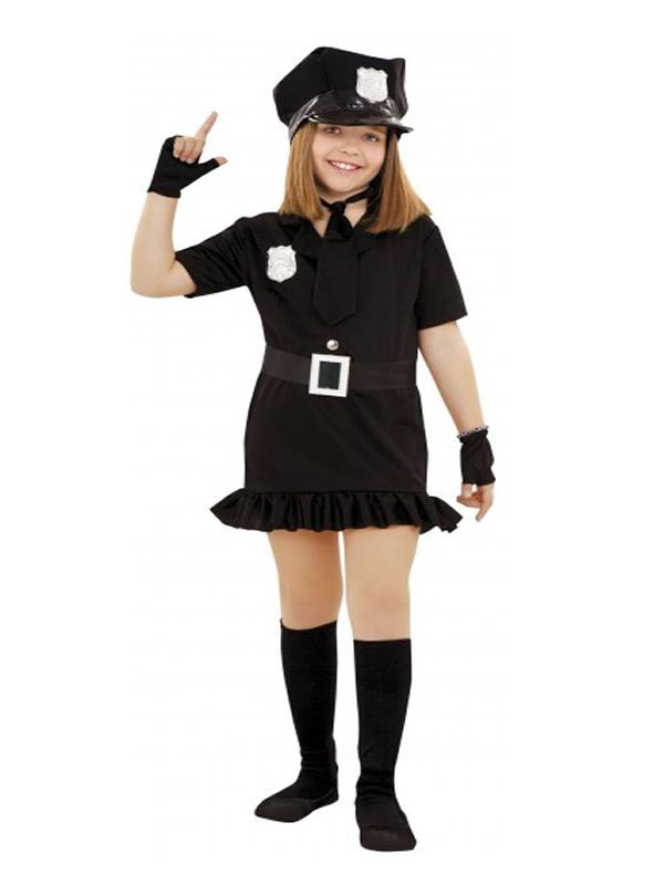 disfraz de policia negro para niña