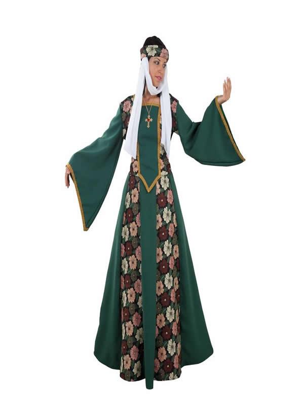disfraz de princesa medieval con flores mujer