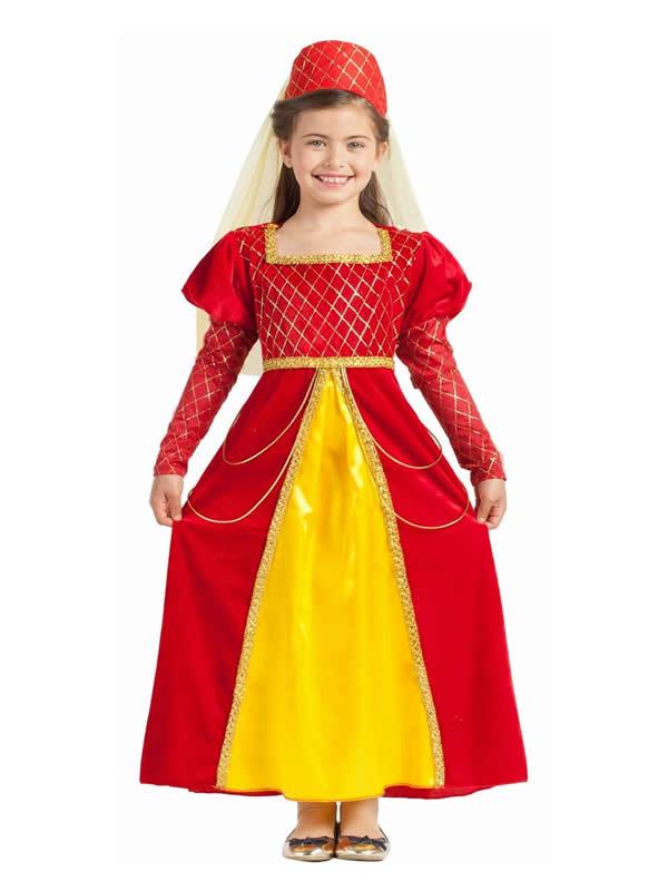 disfraz de princesa medieval roja niña