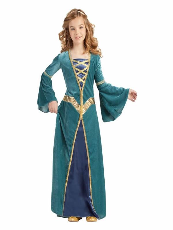 disfraz de princesa medieval verde para niña
