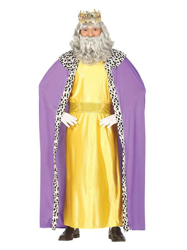 disfraz de rey mago amarillo y lila hombre