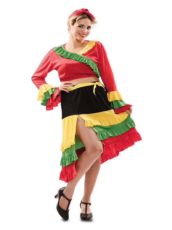 disfraz de rumbera roja para mujer