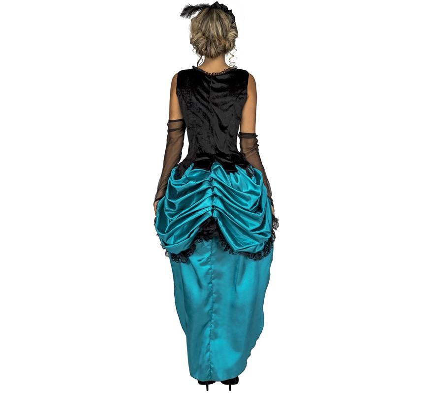 disfraz de señorita azul de salon para mujer