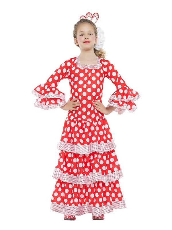 disfraz de sevillana roja con lunares niña