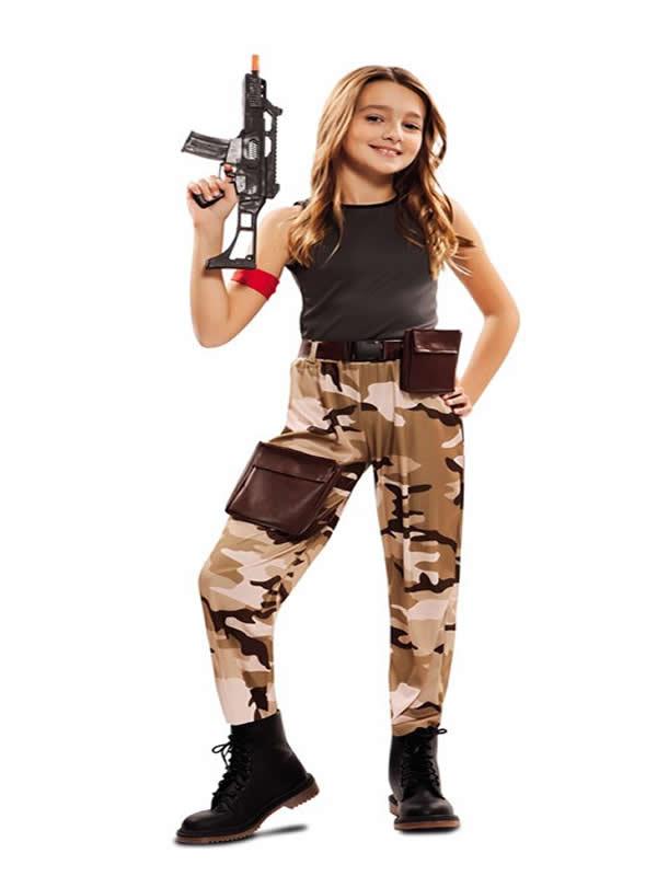 disfraz de soldado de combate para niña