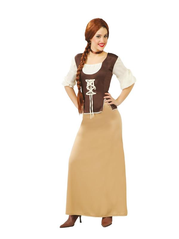 disfraz de tabernera medieval marrón mujer