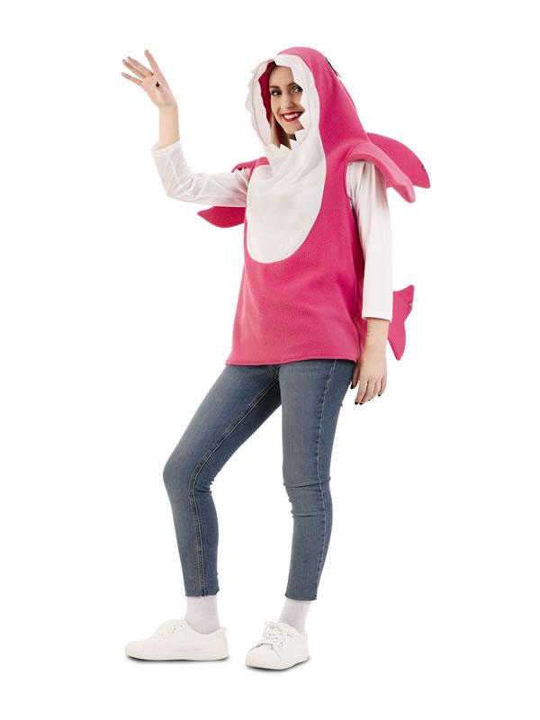 disfraz de tiburon daddy shark rosa mujer