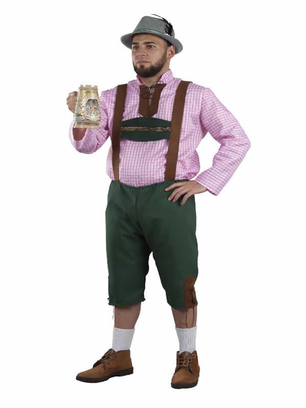 disfraz de tiroles verde y rosa para hombre