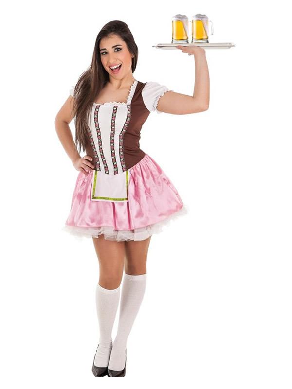 disfraz de tirolesa alemana rosa para mujer