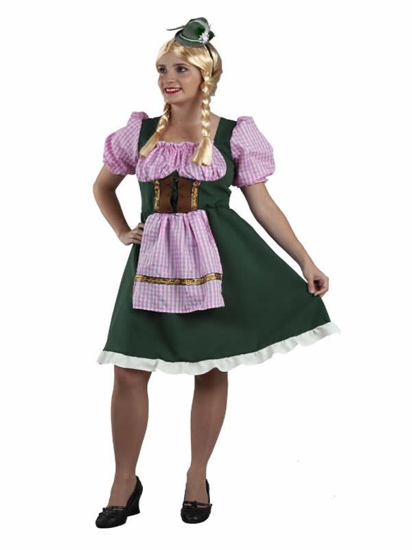 disfraz de tirolesa verde y rosa mujer