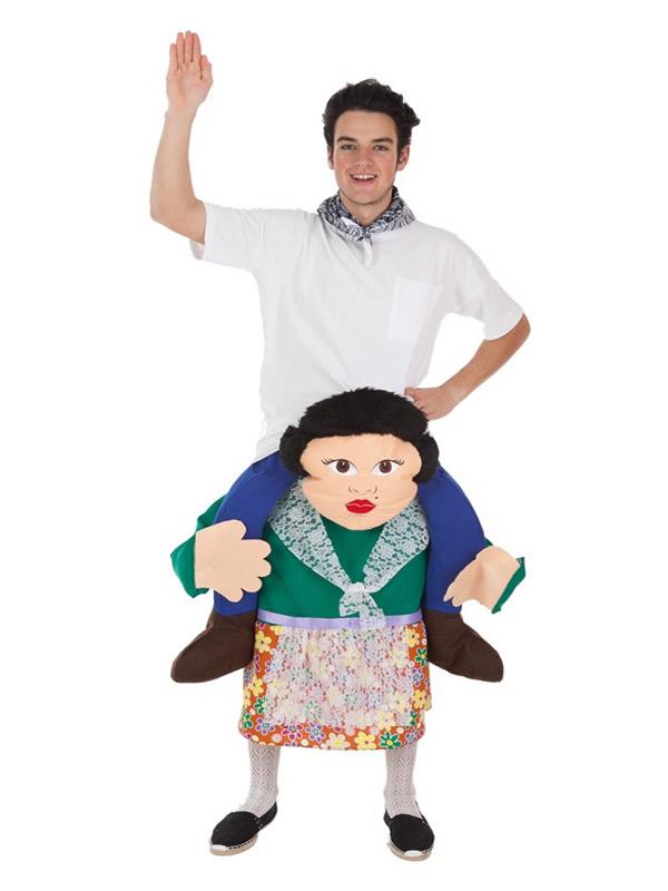 disfraz de turista a hombros de fallera para adultos