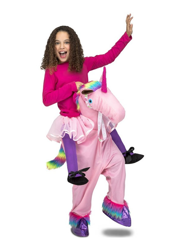 disfraz de unicornio rosa a hombros para niña