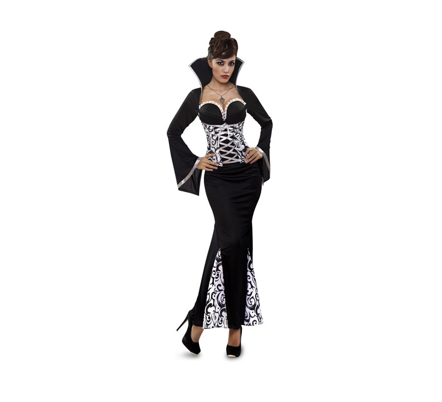 Disfraz De Vampiresa Blanco Negro Mujer