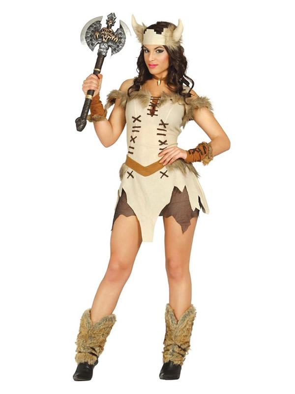 disfraz de vikinga con cuernos para mujer