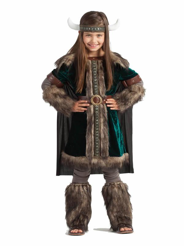 disfraz de vikinga deluxe para niña