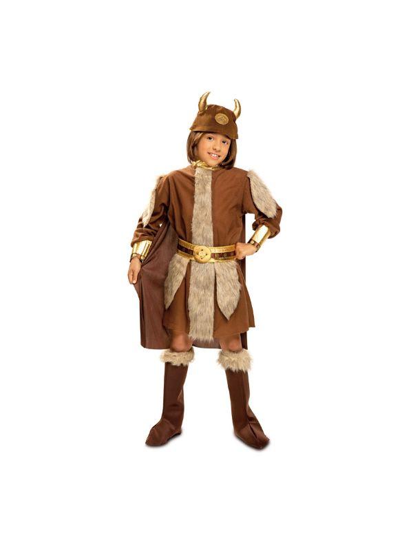 disfraz de vikinga marron niño