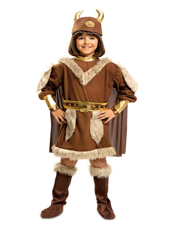 disfraz de vikinga marron para niña
