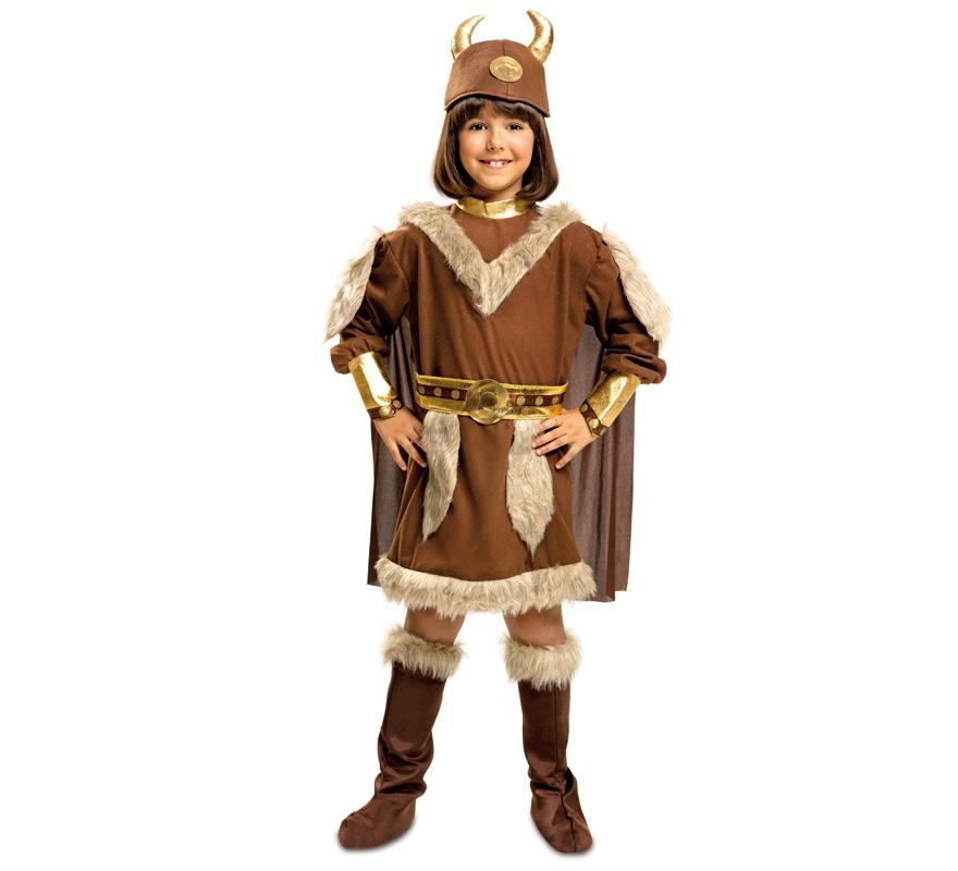 disfraz de vikingo marron para niña