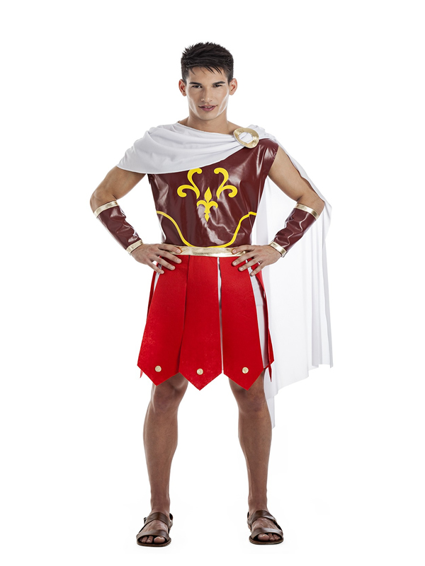 disfraz guerrero romano rojo hombre