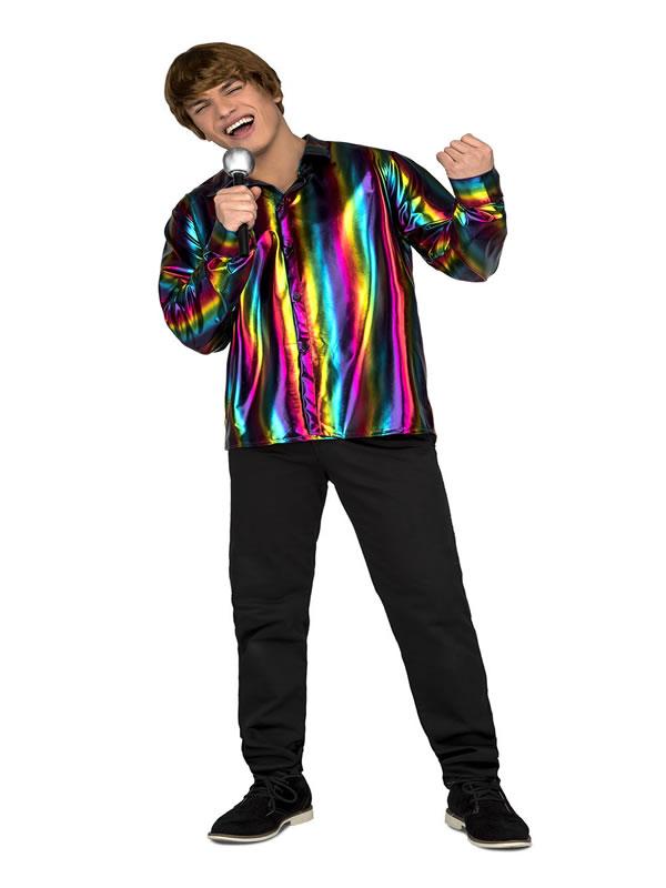 disfraz o camisa disco multicolor para hombre