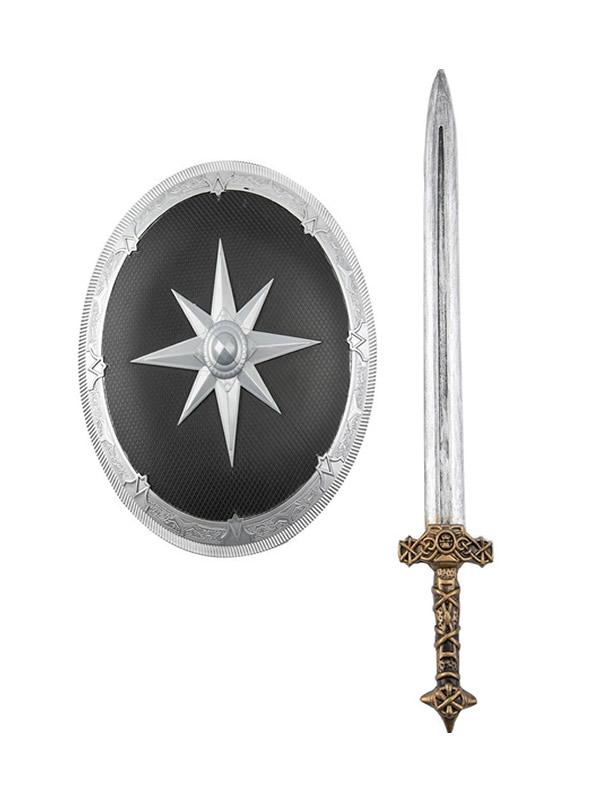 escudo con estrella y espada medieval