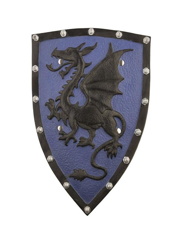 escudo foam medieval azul con dragon 49 cm