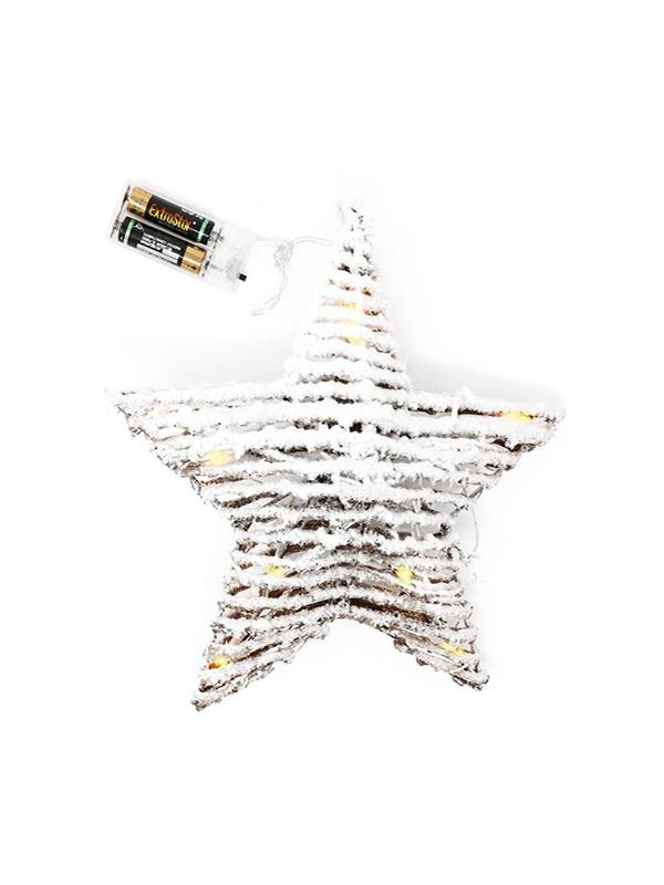 estrella de mimbre luz leds 25cms