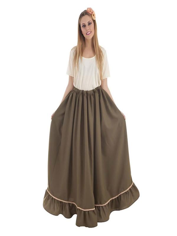 falda medieval verde para mujer